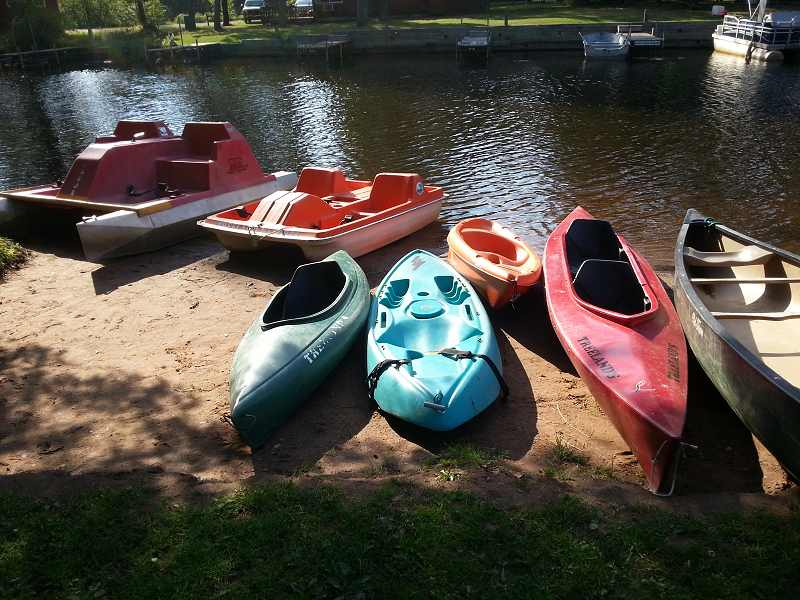 Canoes, kayaks and paddle boats are available to resort guests free of charge.