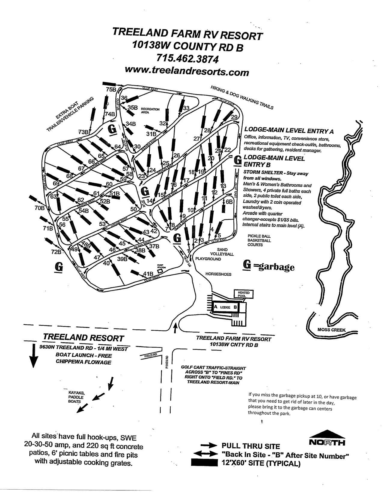 Hayward WI RV Park Map - Treeland Resorts
