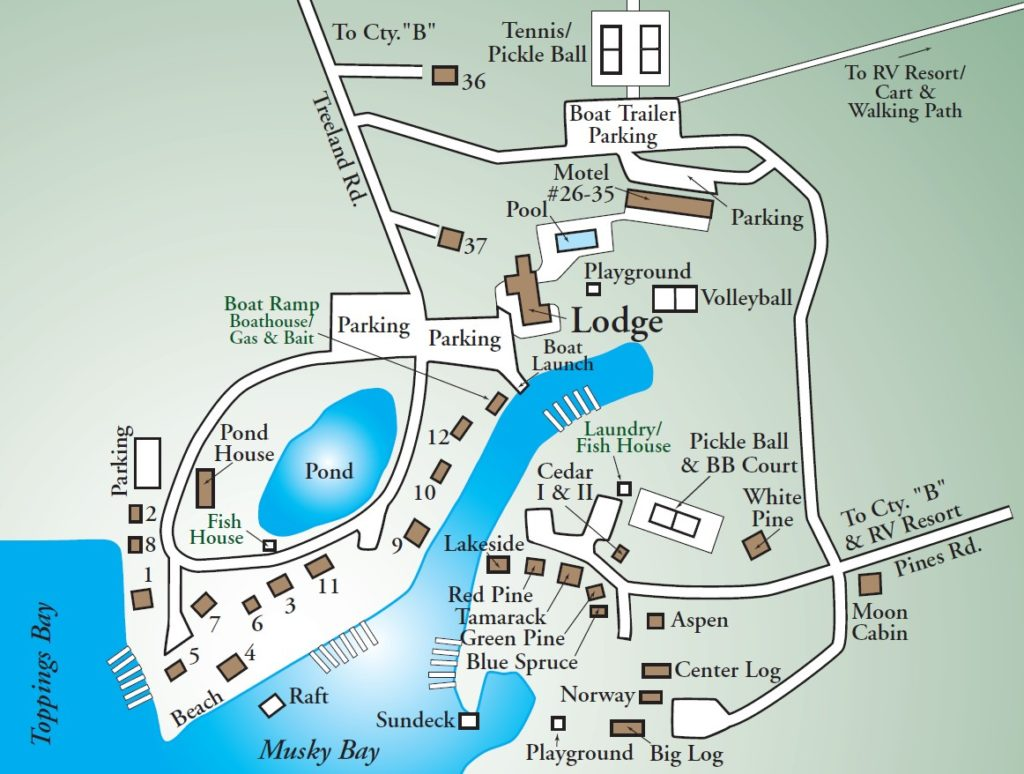 treelands resort map