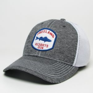 Fitted Walleye Hat – Grey with White Mesh – 2 Sizes!