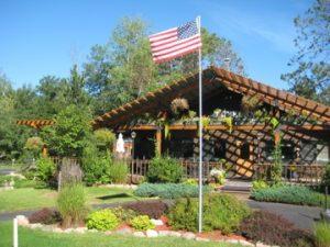 Treeland Lodge with Flag Flying