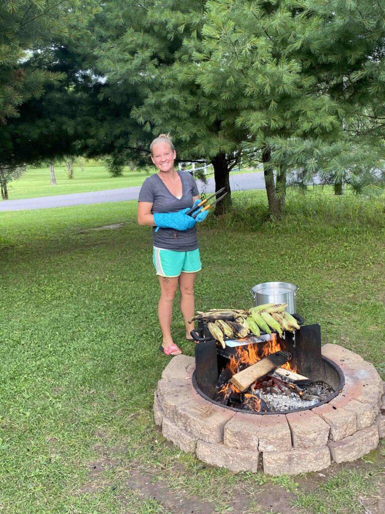 Grilling Corn at Treeland Farm RV Resort