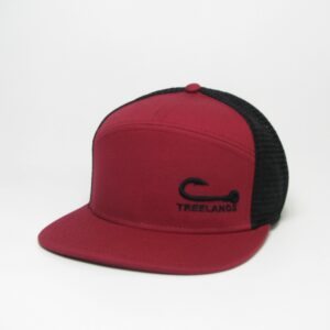 Burgundy/Black Hopback 7-Panel Flat Brim Adjustable