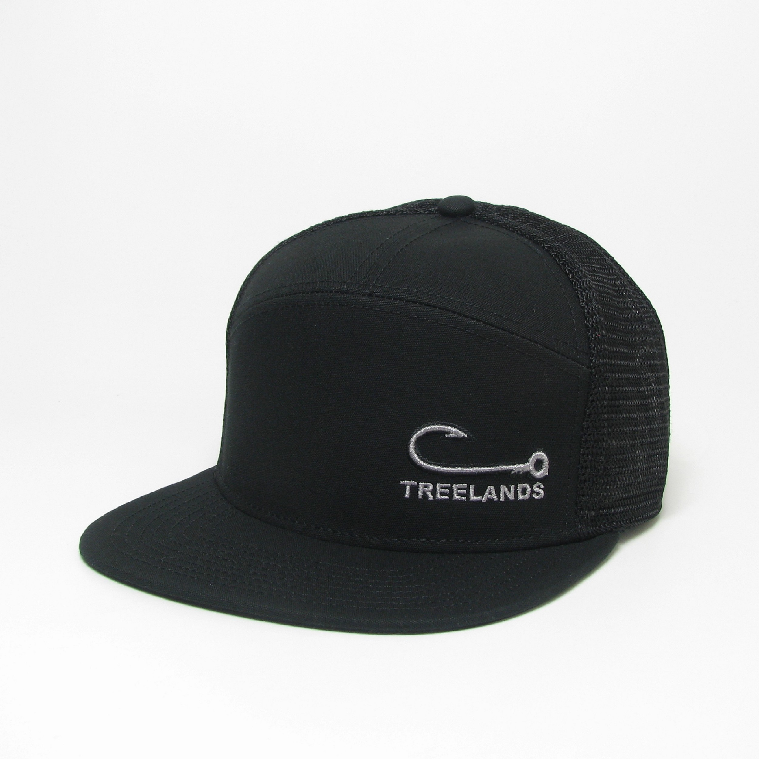 Black Hopback 7-Panel Flat Brim Adjustable